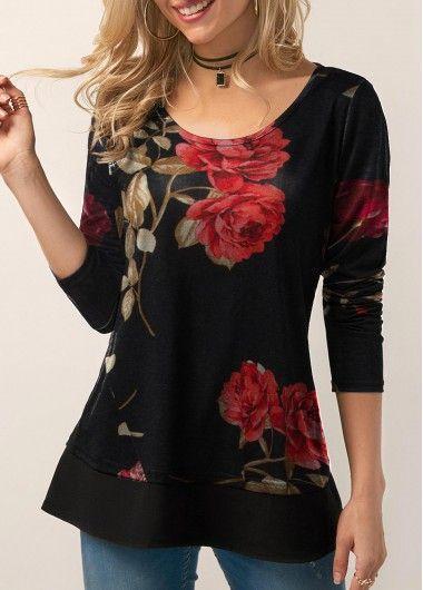 Long Sleeve Round Neck Flower Print T Shirt | liligal.com – USD $27.41