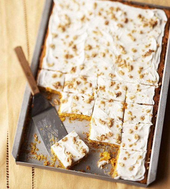 We love these easy Carrot Cake Bars! Get the recipe here: www.bhg.com/recipe/bars/carrot-cake-bars/?socsrc=bhgpin081612carrotcakebars