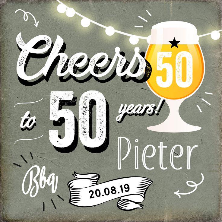 Nodig familie en vrienden uit voor je vijftigste verjaardag met deze stoere uitnodigingskaart met een speciaal biertje!