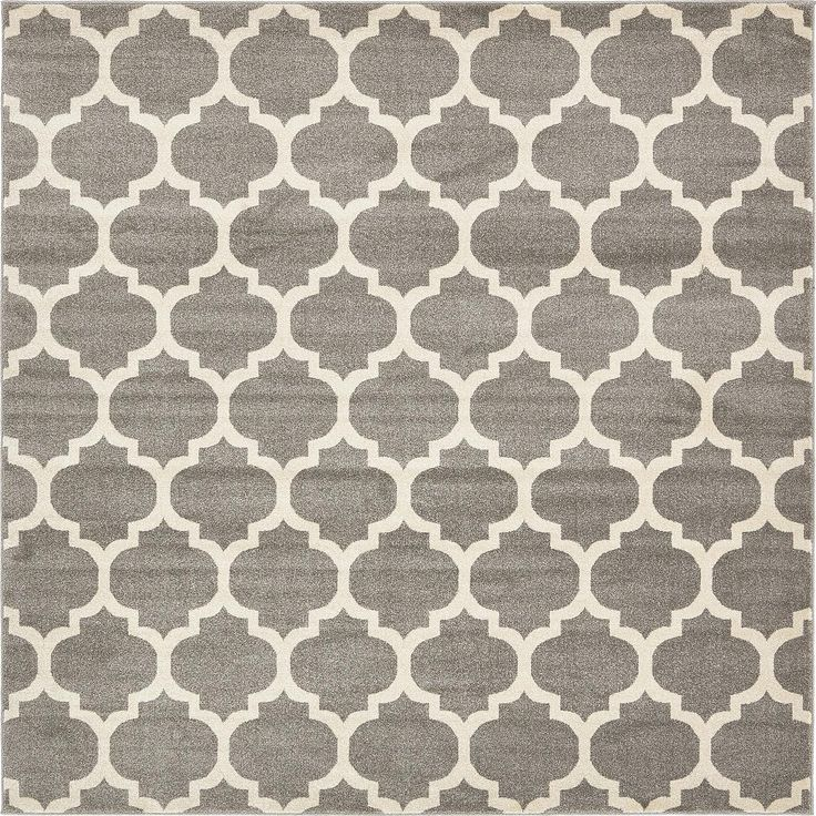 Dark Gray 8' x 8' Trellis Square Rug | Area Rugs | eSaleRugs