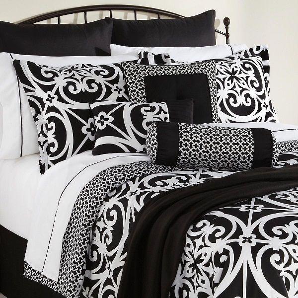 Best Bedding Images On Pinterest Bed Sets Bedroom Ideas And - Black and white comforter sets king size