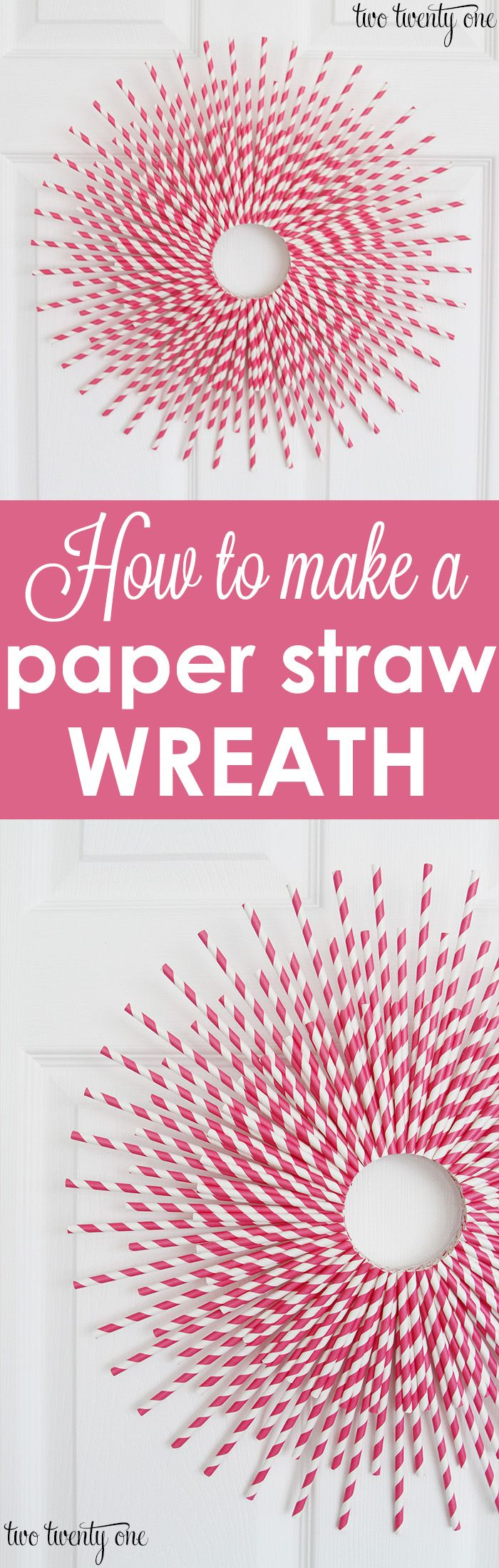 Love this Valentine's Day Wreath! Full tutorial on how to make a paper straw wreath!