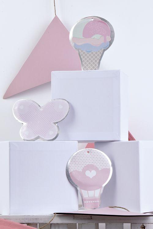 Μεταλλικές μπομπονιέρες παγωτό, πεταλούδα και αερόστατο..