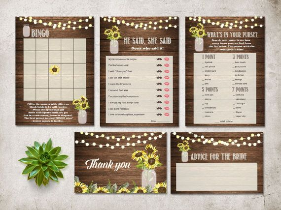 Printable Bridal Shower Games, Rustic Bridal Shower Games Pack, Sunflower Wedding Ideas, Sunflower Bridal shower Party Activities. DIY Bridal shower. Matching bridal shower invitation, cards and signs at: tranquillina.etsy.com
