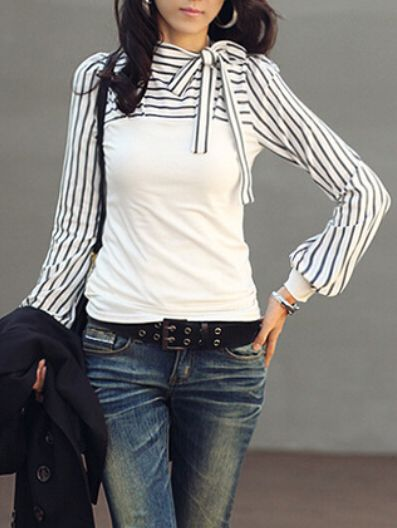 Shop White Bow Collar Striped Slim Blouse online. SheIn offers White Bow Collar Striped Slim Blouse & more to fit your fashionable needs.