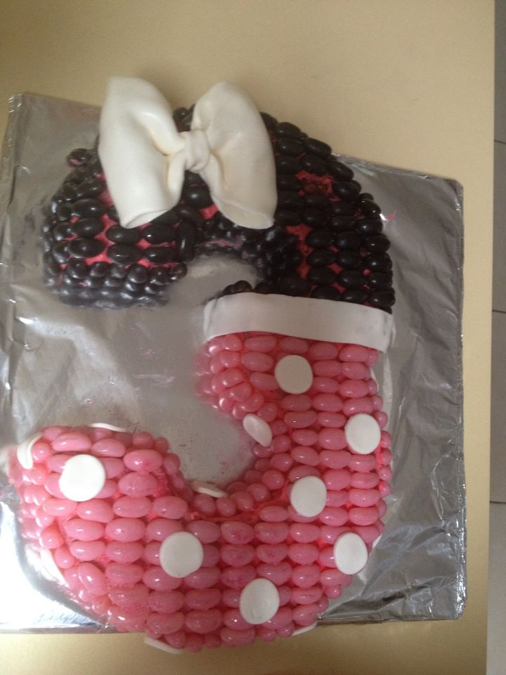 Minnie Mouse inspired number 3 cake