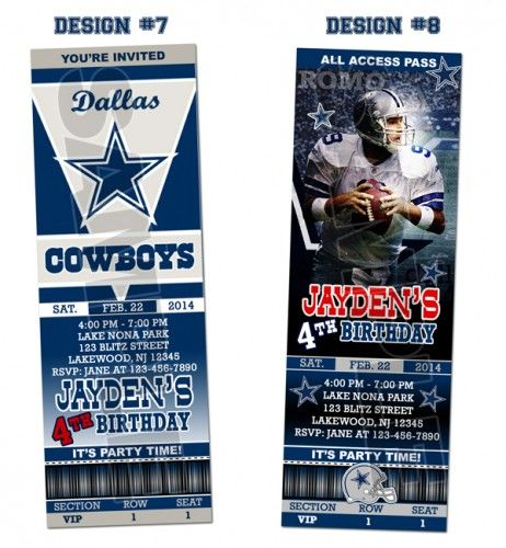 dallas cowboys ticket birthday party invitations