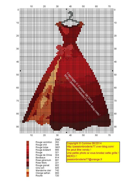 Red dress pattern / chart for cross stitch, crochet, knitting, knotting, beading, weaving, pixel art, and other crafting projects
