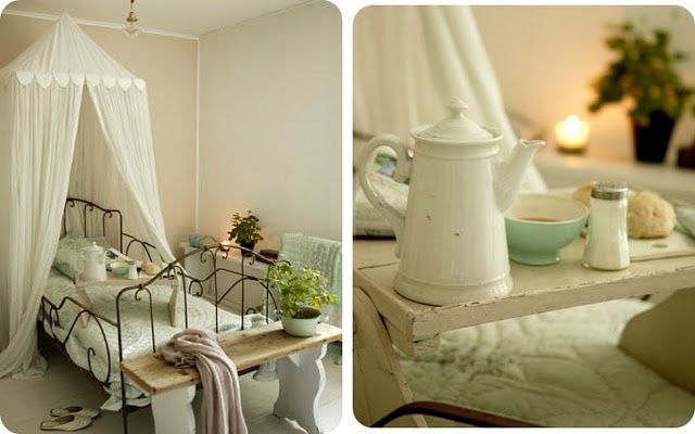 Shabby Chic Ireland: shabby chic. I like the canopy and bfast in bed