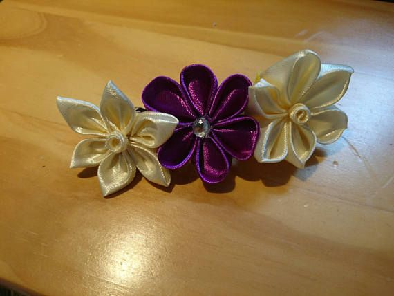 Check out this item in my Etsy shop https://www.etsy.com/listing/536186901/ivory-and-purple-kanzashi-hair-clip