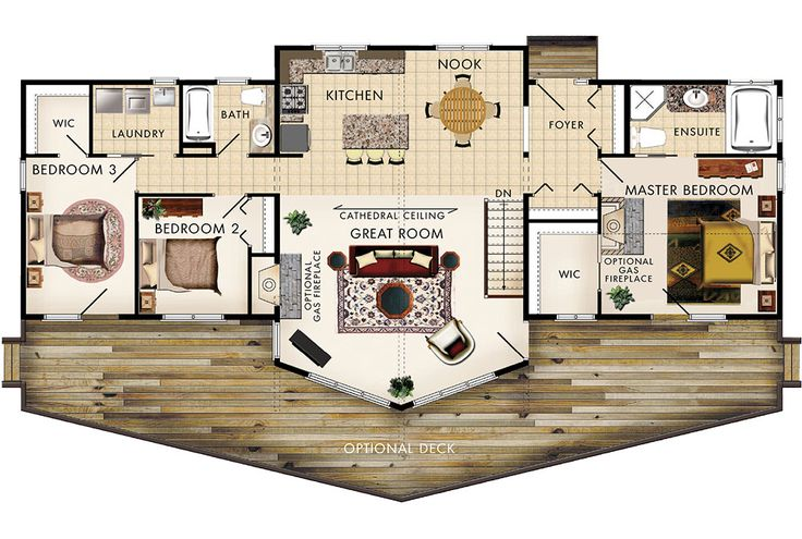 Banff III - 3 Beds, 2 bath, 1584 sq ft 66′-0″w x 32′-0″d