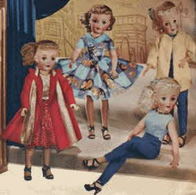 """Revlon Fashion Dolls by Ideal, $6.97-$17.79 different fashions all in high-heeled shoes, """"Queen of Diamonds"""" dress w/lamé bodice, lined velvet coat & lamé scarf, lace-trimmed sewn-in slip, panties, nylon hose, & rhinestone earrings, necklace & ring. """"Kissing Pink"""" print dress w/net & ruffled crinoline, bodice w/rhinestones,panties, nylon hose,pearl necklace & earrings. """"5th Avenue"""" doll wears cotton blouse, slacks, earrings, flower-spray, & a jacket of soft cotton fleece. Size 15"""" to 20"""" Z"""