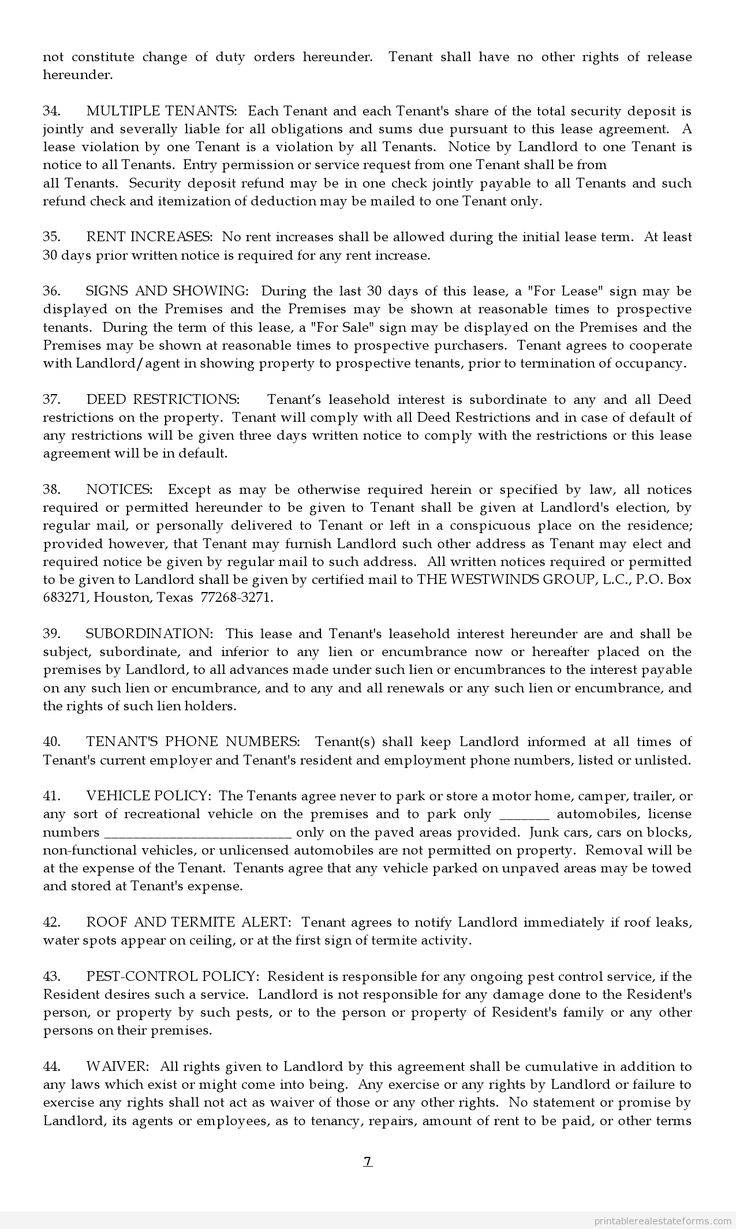 Sample Printable lease agreement Form
