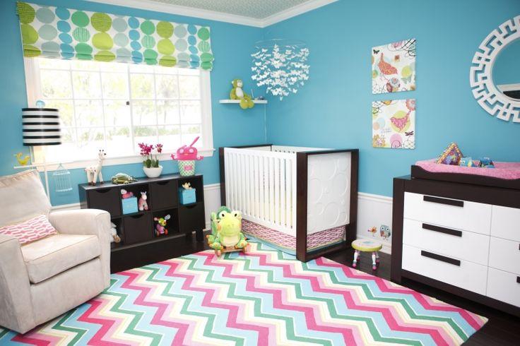 "Mermaid Nursery Decor: Bright & Modern Baby Girl Nursery. Paint Color ""Capri"" by Sherwin Williams"