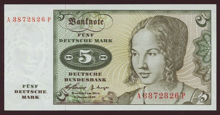 German currency 5 Deutsche Mark banknote of 1960,