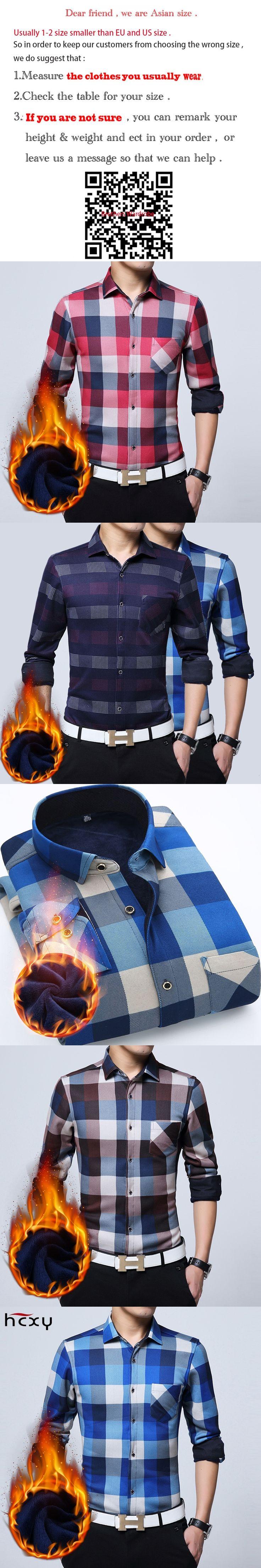 HCXY2017Men Slim Fit  Winter  Dress Shirt Long Warm Casual Vintage  Mens Formal Shirt Camisa Masculina