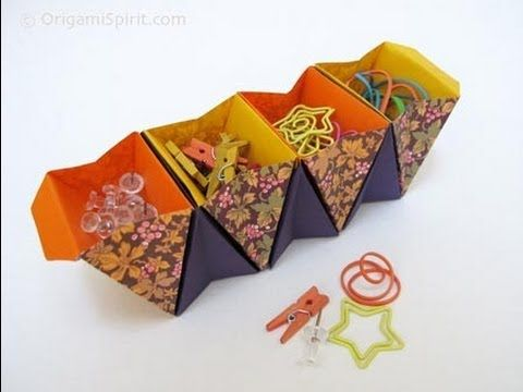 ORIGAMI SPIRIT Layla Torres | How to Make an Origami Accordion Box -Caja acordeon | Instructions: http://www.origamispirit.com/2012/02/how-to-organize-unruly-desktop-nicknacks-in-style/