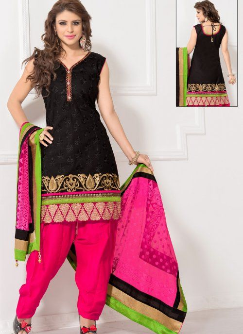 Attractive Black Salwar Kameez #punjabi #suit #salwarkameez #indian  #party #wear #designer #suit #elegant #patiala #salwar #black #wedding #asian #clothing #indiantrendz