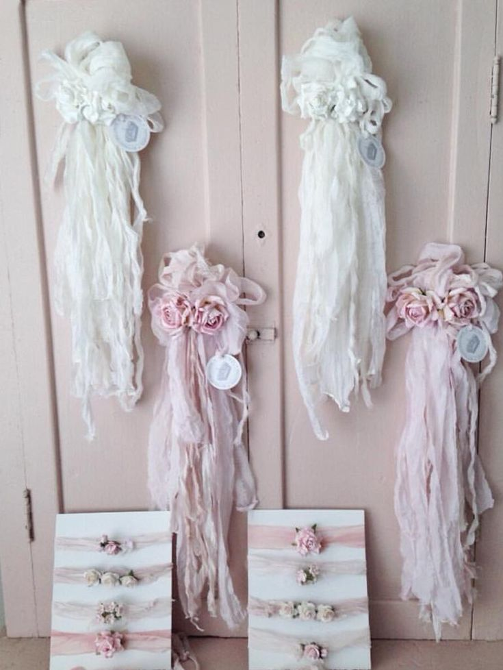 They are made to order, each shabby piece is unique and original. They are so beautiful and delicate. Perfect to hang around your home on chairs or knobs. This is for the hanging ribbons as shown in t