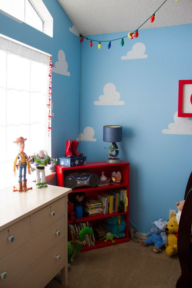 over the walls in Toy Story clouds. | 33 Subtle Ideas For Your Disney-Themed Nursery