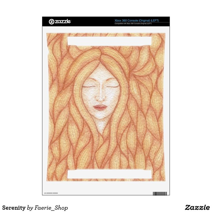 Serenity Xbox 360 Console Decal #faerieshop #watercolour #watercolor #calm #sleeping #woman #girl #hair #strands #gold #beautiful #art #illustration #zazzle #galadriel #elf #creative #paint #painting #vintage #gaming
