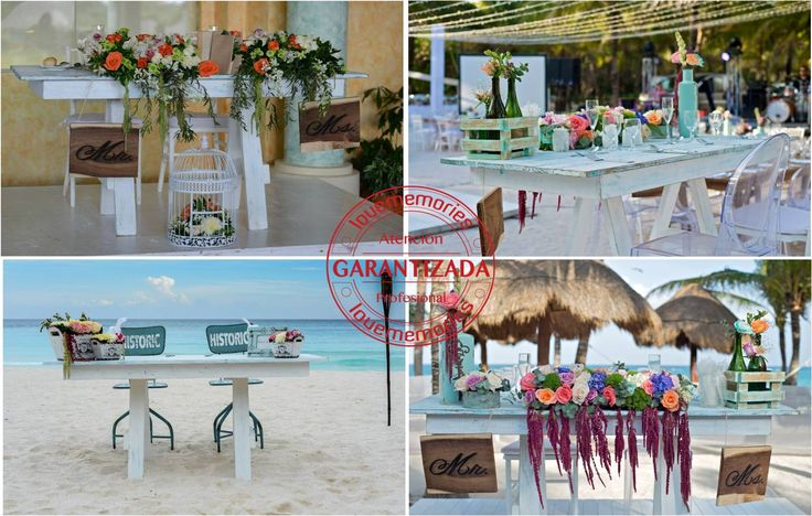 Mesa de novios  Rustic White #LoveMemories #Weddings #Cancun #Rivieramaya #PlayadelCarmen