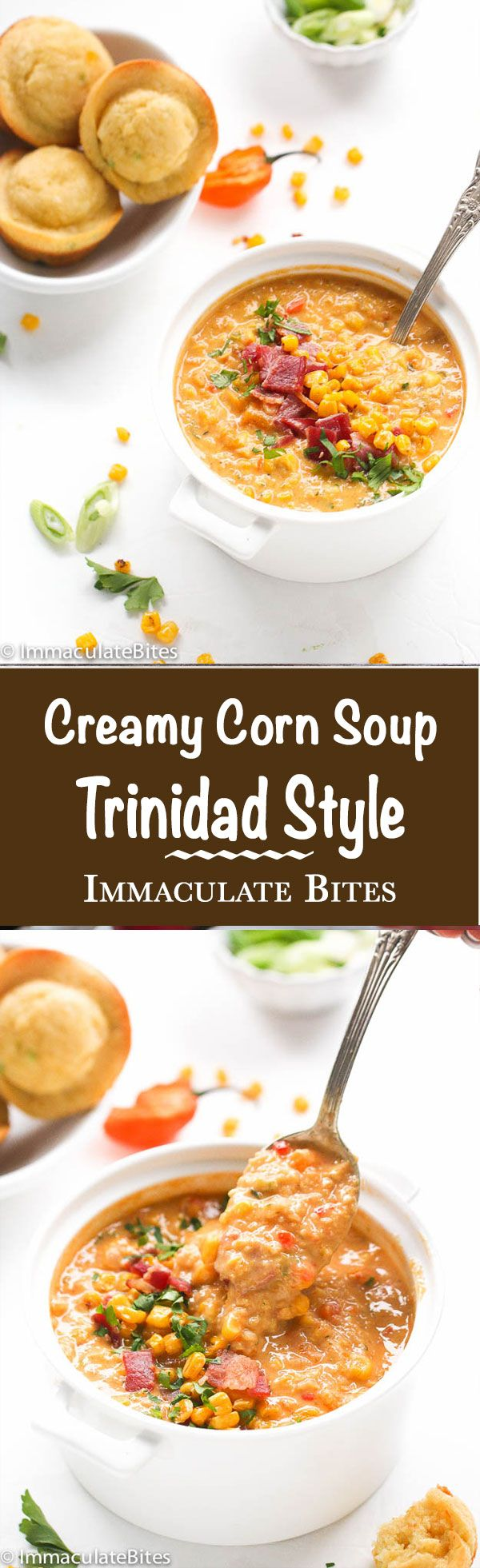 Trinidad Style Corn Soup- A Warm, Smokey and filling corn soup Caribbean Style that's incredibly creamy and slightly sweet, perfect for those winter nights or warm summer days.