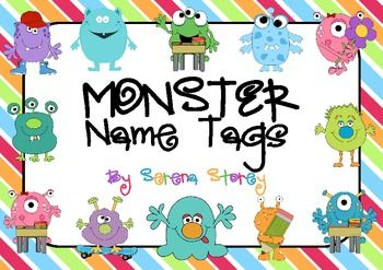Name Tags Monsters With Bright Stripey Background