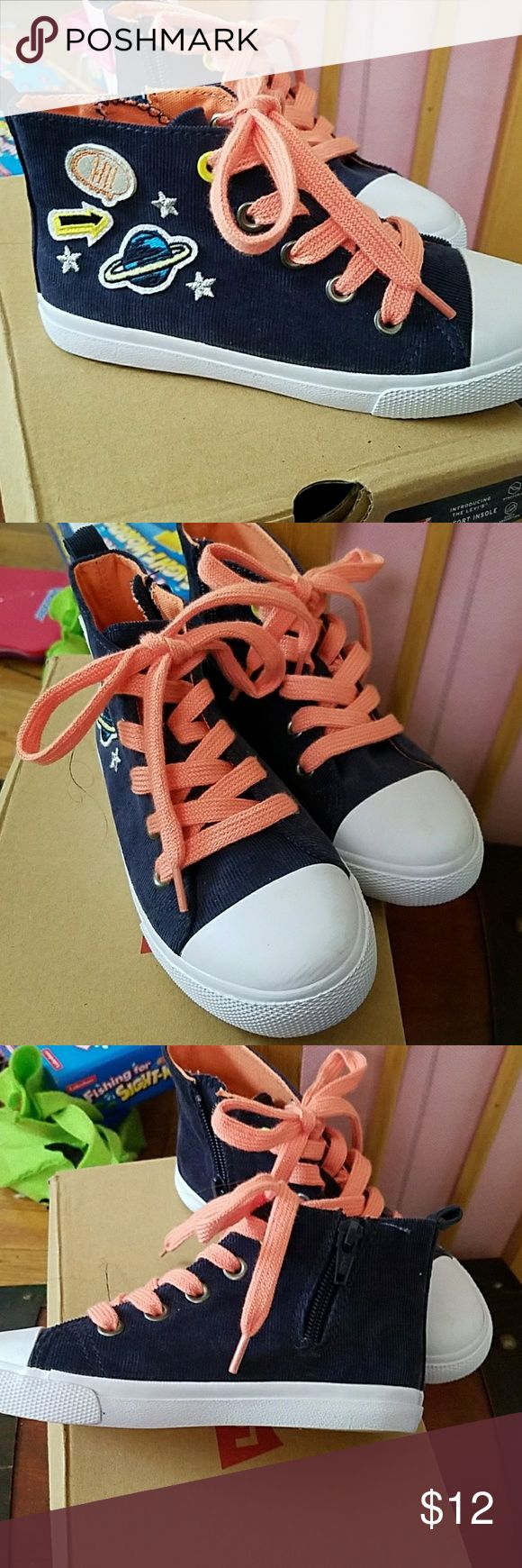 Cat & Jack high top tennis shoes Brand new with out box, never worn.Cat&Jack size 11. Lace and side zip. Cat & Jack Shoes Sneakers