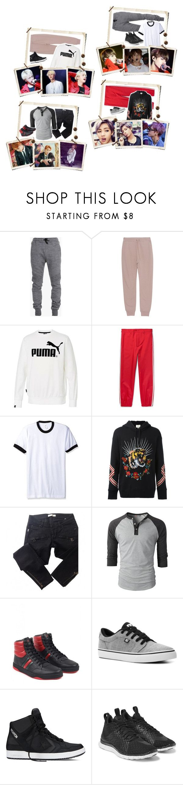 """Oorn { Seokjin & JungKook & Hoseok & Taehyung }"" by parkchim95 ❤ liked on Polyvore featuring Balmain, T By Alexander Wang, Gucci, American Apparel, DC Shoes, Converse, NIKE, men's fashion and menswear"