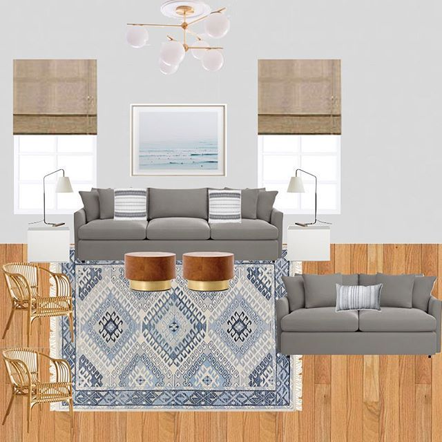 Blue Gray White Living Room Design