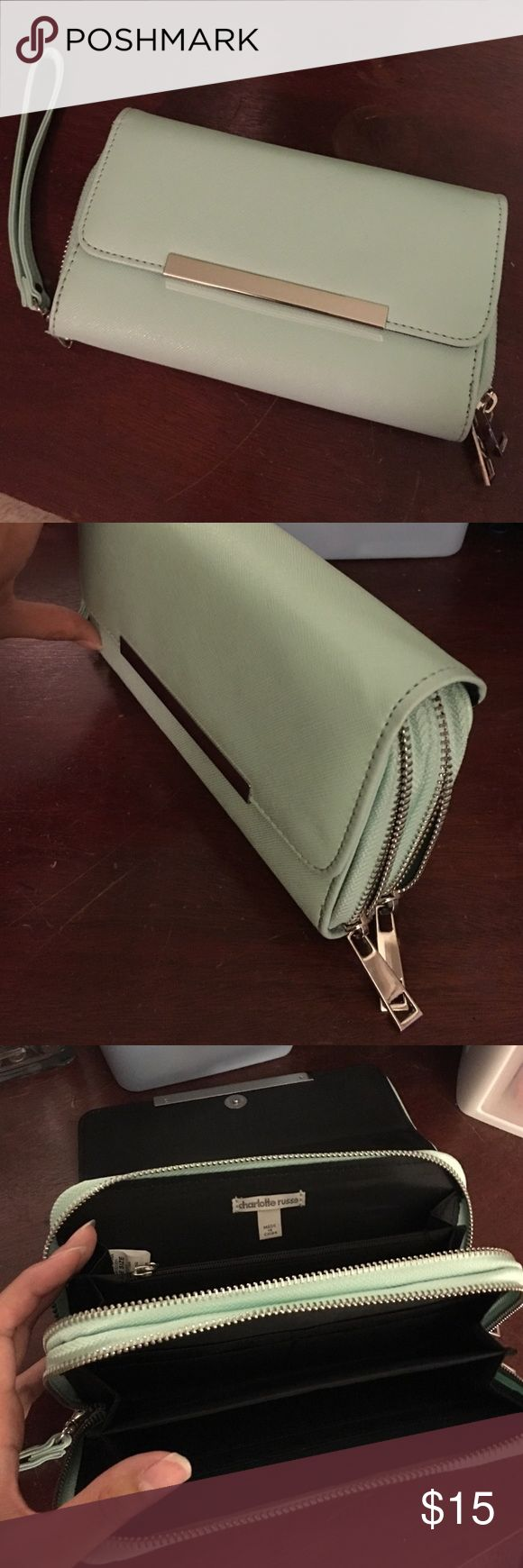 Pretty Mint Wallet Wristlet Brand new condition NWOT. Plenty of room for cash, cards, receipts/coupons, ect... and zipper pocket for coins. Detachable wristlet. Charlotte Russe Bags Wallets