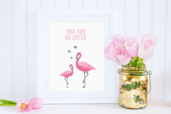 You Are So Loved - This pink and grey flamingo print is part of the Olivia Collection and would be the perfect addition for your little girls