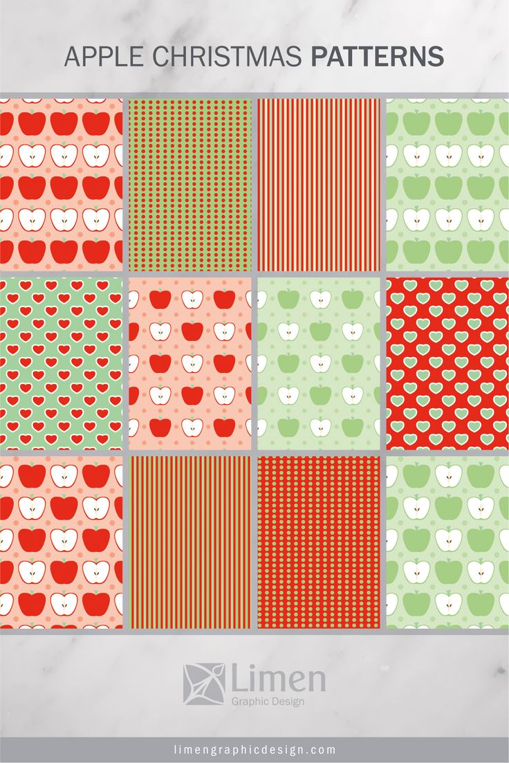 Sweet Apple Christmas Patterns by Limen Graphic Design