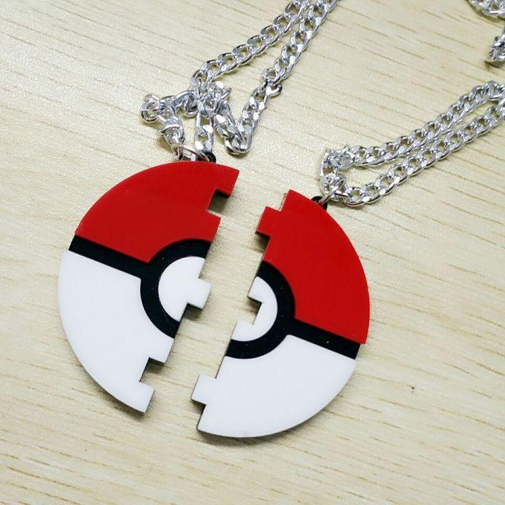 Fashion Brand New Acrylc Pokemon Pokeball Laser Cut Acrylic Pendant Necklace Couples Friendship necklace
