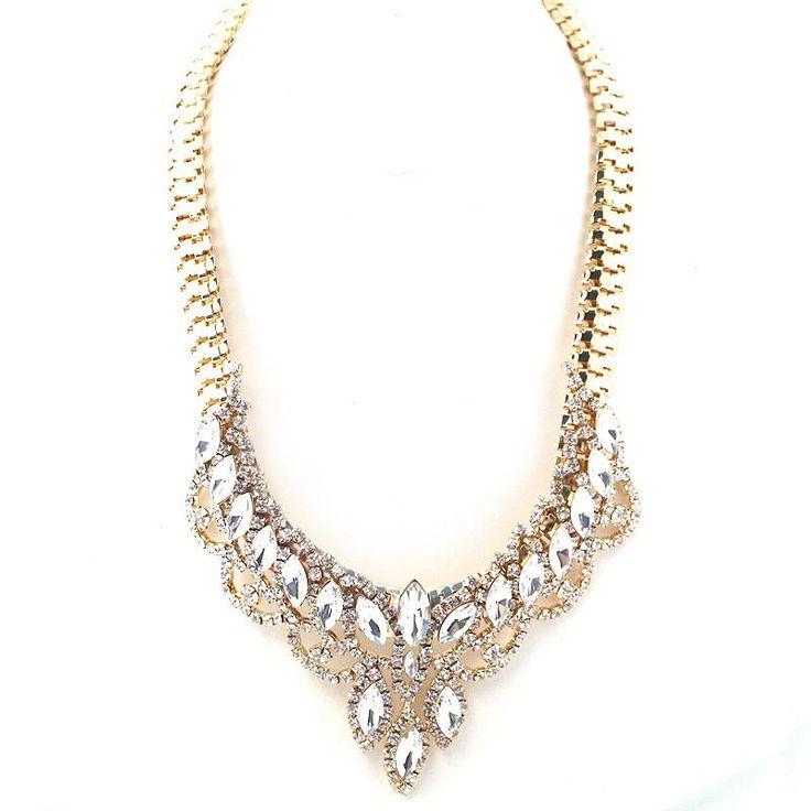 Glass Beads Statement Flat Herringbone Necklace