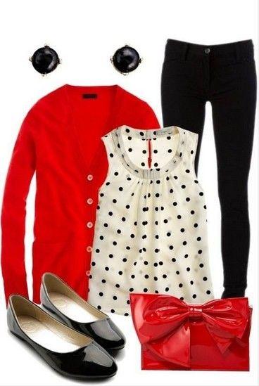 Black pants, polka dots and tomato cardigan
