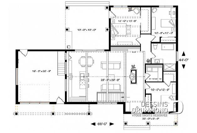 Bon Rez De Chaussée Du Plan De Maison Unifamiliale W3992 V2