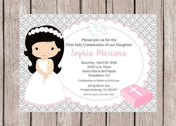 PRINTABLE Girls First Holy Communion Invitation in by ciaobambino