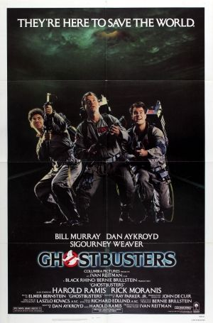 Ghostbusters 1984 - original vintage movie poster for the American comedy film Ghostbusters directed by Ivan Reitman and starring Bill Murray, Dan Aykroyd, Sigourney Weaver, Harold Ramis and Rick Moranis, listed on AntikBar.co.uk