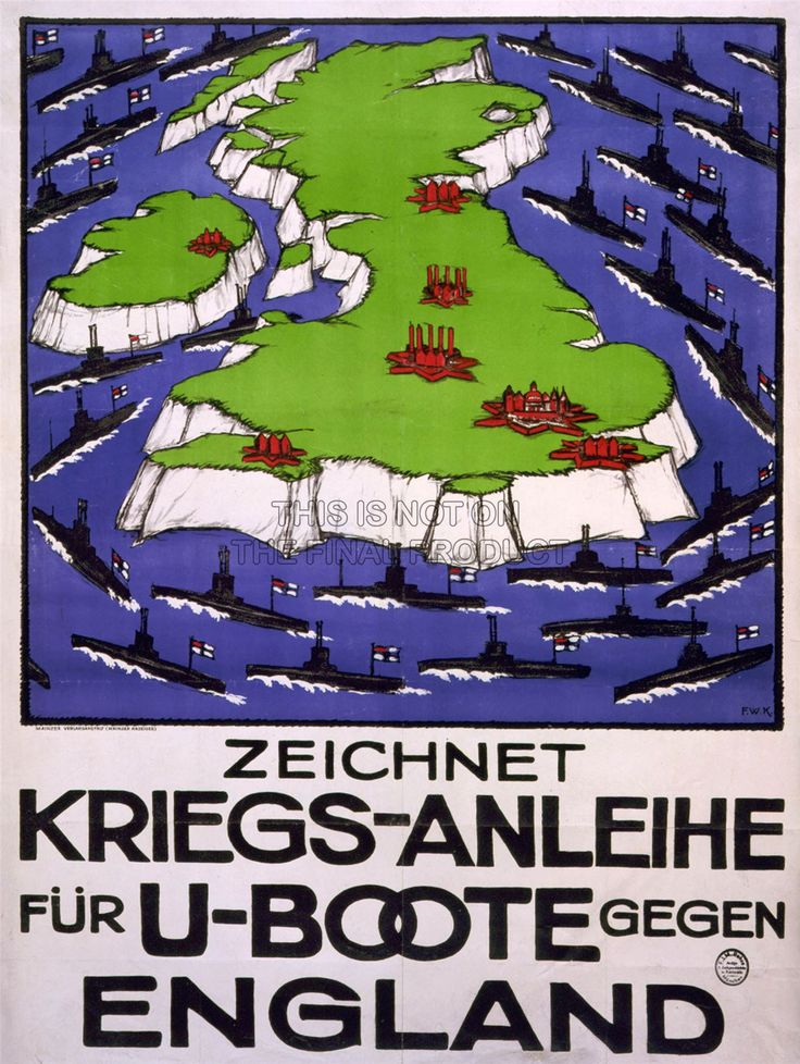 WWI, German U-boat propaganda - The blockade forced Germany back to their unrestricted submarine warfare tactics, despite concerns doing so would lead to an American entry on the side of the Entente. -Die Hungerspiele | Shot in the Dark