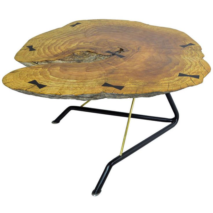 Laura Bergsoe Unique Coffee Table Burly ash/rosewood/Iron/Brass | From a unique collection of antique and modern sofa tables at http://www.1stdibs.com/furniture/tables/sofa-tables/