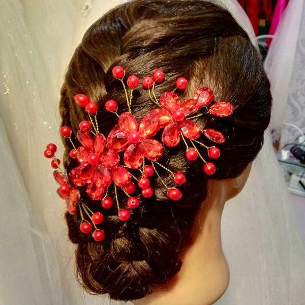 Свадебные платья с красным горный хрусталь ювелирные изделия ожерелье серьги Корона PARURE ручной головной убор аксессуары для волос - Taobao