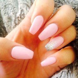 Angel Nails - Phoenix, AZ, United States. Coffin nails! Pink w/ ombre glitter