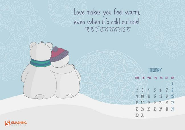 """Love Makes You Warm  """"Following the busy Christmas season, the cold and boring January comes, love is one thing, what can make us warm for sure!"""" — Designed by Barbara Dörnyei from Hungary."""