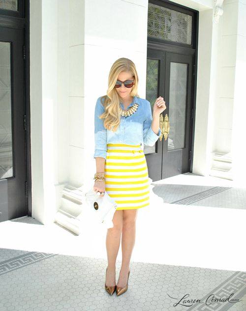 love the striped skirt + chambray top!