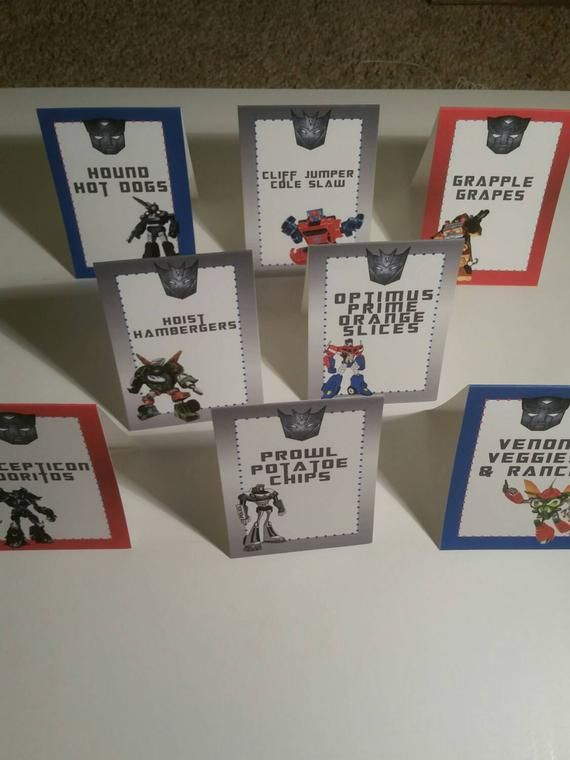 Transformer food tent cards, transformers birthday party decor, Transformers birthday decorations, table tents, dessert table, placecards