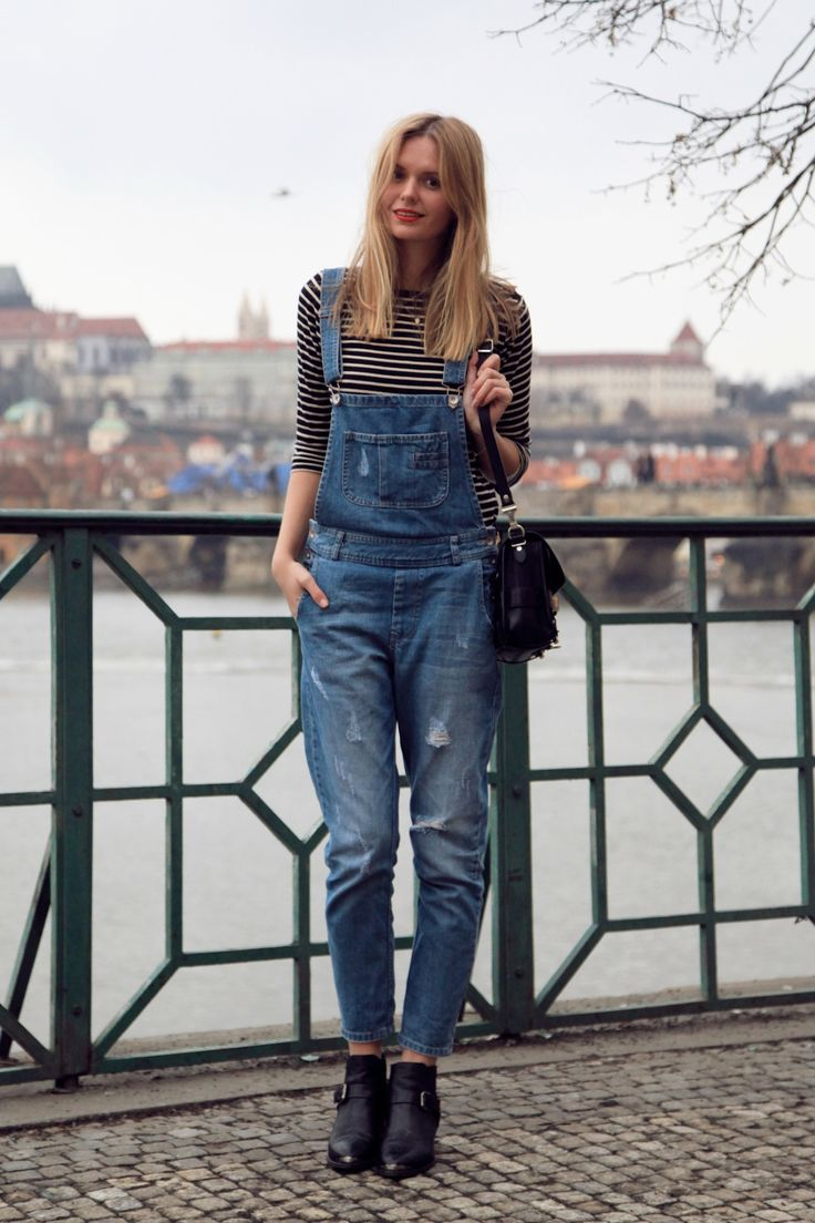 classic jean overalls with a slouchy but fitted look