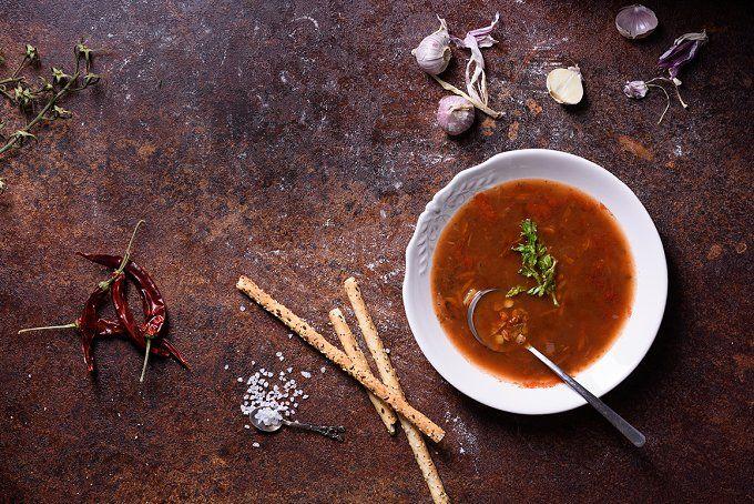 Gazpacho Spanish soup with bread by Iuliia Leonova on @creativemarket