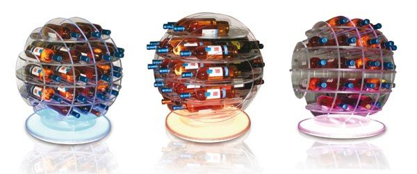 Big Sphere Light (cod. SGL30). Plexiglass Bottle-rack cut pantograph made up of interlocking sections and a base with RGB LED light that spreads over the entire object. May contain up to 30 bottles. For any info, please contact me.